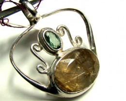 RUTILATED QUARTZ AND TOURMALINE PENDANT  DF-91