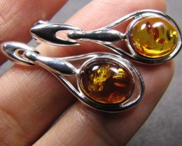 BALTIC AMBER SILVER  EARRINGS   17 TCW  MYG 754