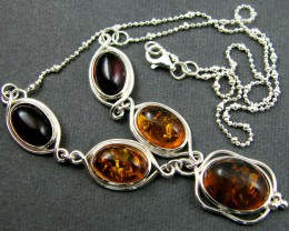 MODERN AMBER  STERLING SILVER  NECKLACE   MYT 389
