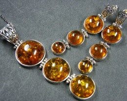 BALTIC AMBER SILVER PENDANT AND EARRING TCW104   MYG379