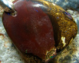 AUSSIE BOULDER OPAL PENDANT ON CORD READY TO WEAR 30.70 CTS
