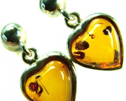 BALTIC AMBER EARRINGS SILVER 10.40 CTS [SJ511]