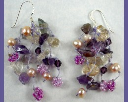 """BEADED EARRINGS WITH STERLING SILVER SHEPHERD HOOK"""