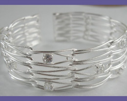 "NR! ""MODERN DESIGN - STERLING SILVER CUFF WITH CZ'S"""