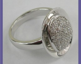 MODERN DESIGN-STERLING SILVER OVAL RING PAVE SET WITH CZ