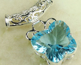 Sterling Silver Pendant, Lovely Blue Crystal