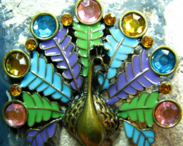 TimeLessDesigns  ANTIQUE BRONZE COLOR-FULL PEACOCK PIECE