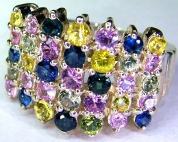 BEAUTIFUL CLUSTER SAPPHIRE -SILVER 27.50 CTS SIZE 7.5 SJ-579