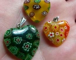 44.5cttw Adorable Milifori Glass Pendant Parcel~3 Pieces!