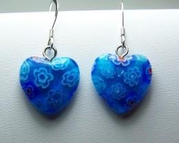 14cttw Beautiful Genuine Milifori Glass Heart Earrings