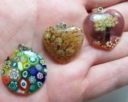 65.5cttw Lovely Genuine Milifori Glass Pendant Parcel~ 3 Pcs