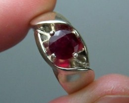 1.4ct 6.5mm Round Genuine Ruby Ring in Sterling Silver~SZ 7