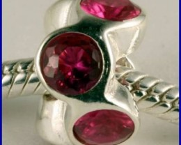 Sterling Silver Charm set with created Rubies SG02