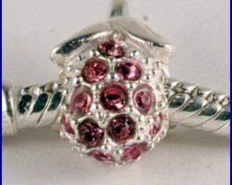 Sterling Silver Charm set with created Rubies SG05