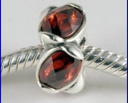 Sterling Silver Charm set with created Garnet SG09