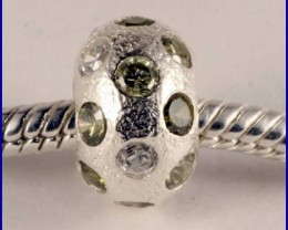 Sterling Silver Charm set with created Peridot SG11