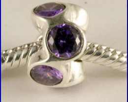 Sterling Silver Charm set with created Amethyst SG13