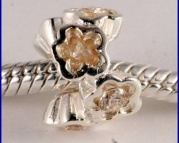 Sterling Silver Charm set with created Citrine SG15