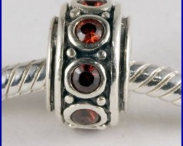 Sterling Silver Charm set with created Garnet SG23