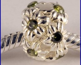 Sterling Silver Charm set with created Peridot SG34b