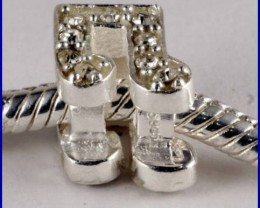 Sterling Silver Charm set with created Diamond SG39