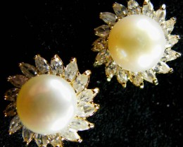 NATURAL PEARL EARRING PAIR 34.4 CTS [EE10]