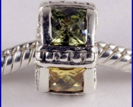 Sterling Silver Charm set with created Citrine&Peridot SG47b