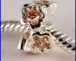 Sterling Silver Charm set with created Citrine SG49