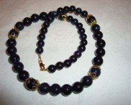 DARK BLUE SUN SITARA BEADED NECKLACE