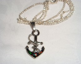 RHODIUM ANCHOR PENDANT WITH GENUINE OPAL CHIPS