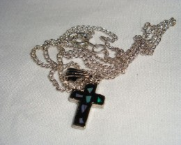 CROSS PENDANT WITH GENUINE OPAL CHIPS