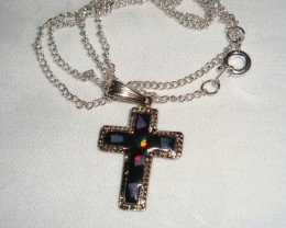 RHODIUM PLATED CROSS WITH GENUINE OPAL
