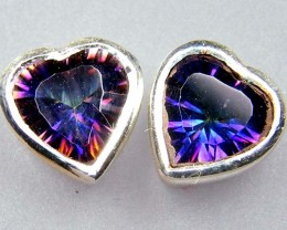 RAINBOW MYSTIC GEMSTONE SILVER EARRINGS  GTJA724