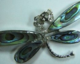 TimeLessDesigns PAUA SHELL PENDANT DRAGONFLY RHODIUM PLATED