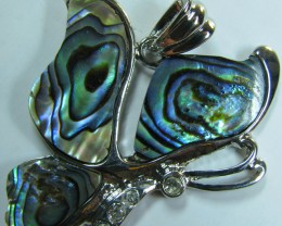TimeLessDesigns PAUA SHELL PENDANT BUTTERFLY RHODIUM PLATED