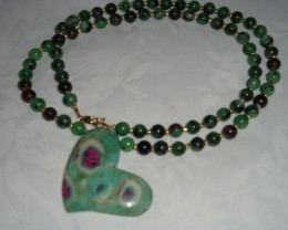RUBY ZOISITE NECKLACE AND PENDANT