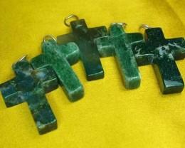 5 Silver Moss Agate Cross Pendants DP743
