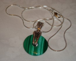 MALACHITE DONUT PENDANT ON STERLING SILVER SNAKE CHAIN