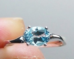 1ct Genuine Natural Sky Blue Topaz Ring In Sterling Silver