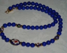 "BLUE ""MOUNTAIN JADE"" NECKLACE WITH CLOISONNE'"