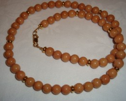 20 inch MOCHA JADE NECKLACE WITH GP SAUCERS-NR