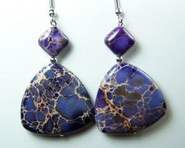 71.5cttw Purple Sea Sediment Jasper Dangle Earrings