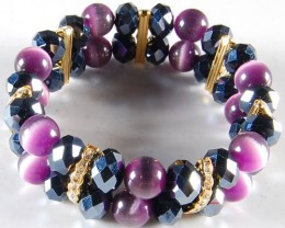 LOVELY PURPLE CRYSTAL AND CATSEYE BRACELET