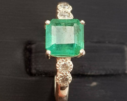 Natural Emerald With Diamonds