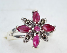 Antique Style Ruby Silver Ring