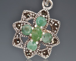 Antique Styles Emerald Silver Pendant
