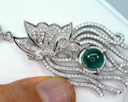 transparent Precious  3.15Carat Highest Green Emerald,CZ 925 Silver Pendant