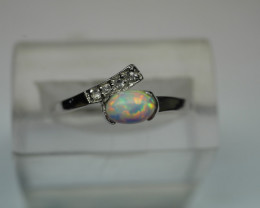NATURAL OPAL OVAL SHAPE 92.5 STERLING RING ( 7.25 US )