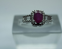 NATURAL HITTED  RUBY  OVAL SHAPE 92.5 STERLING RING ( 6.25 US )