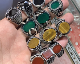 Wholesale deal Natural Turkish style tiger eye, agate Gents Rings.